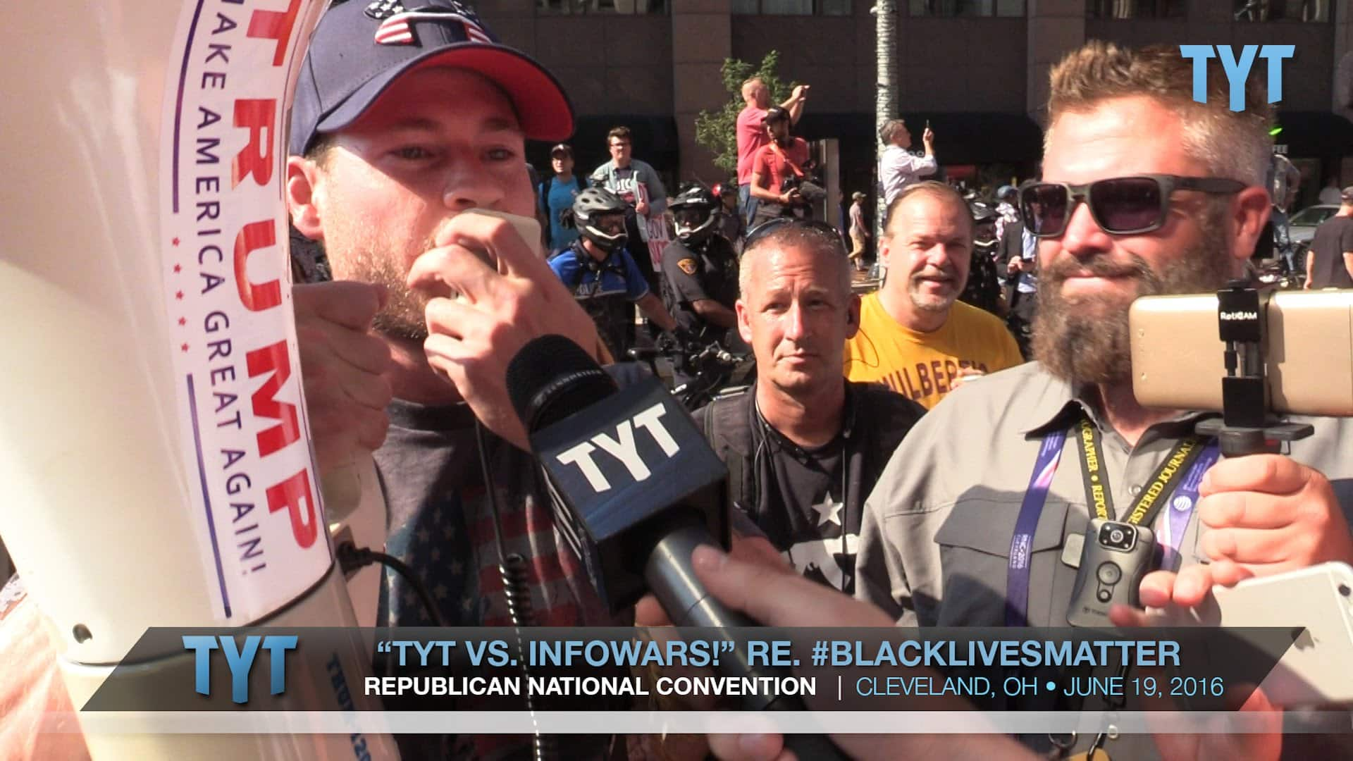 TYT vs. InfoWars re. #BlackLivesMatter At RNC Convention 16